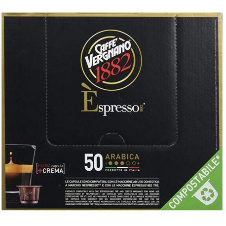 Caffè Vergnano Pack de 50 Capsules Compatibles Nespresso Espresso Arabica Caffè